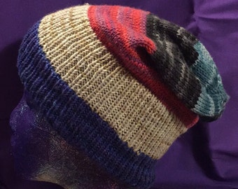 Dark Striped Slouchy Hat