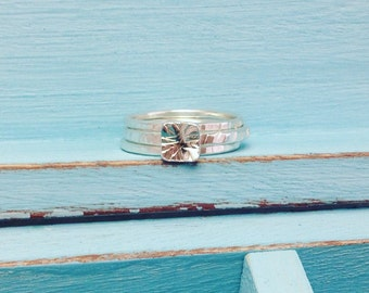 Sterling Silver Stacking Rings, Hammered Silver Stacking Rings, Stack of Textured Silver Rings, Stackable Rings, Stacking Silver Rings