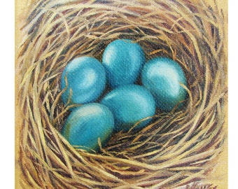 "Bluebird Nest 4""x4"" Oil Painting"