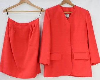 Vintage Kasper For A.S.L Skirt Suit Red ASL Ladies Size UK 6 1980s Style Workwear Retro