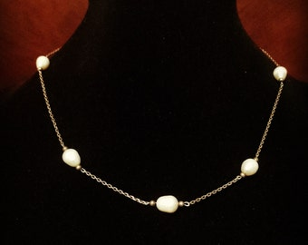 Sterling Silver 0.925 Necklace Chain With Pearls.