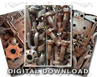 Rusty Nuts Bolts Tools Clip Art Stock Photos | Scrapbook Background Texture Images | Steampunk Decor | Commercial Use | Rust02