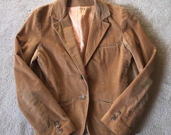 Vintage tan corduroy blazer, women's blazer, 1970s