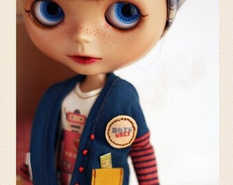 BLUE Robot Cardigan casual SET - for Momoko Blythe - doll outfit