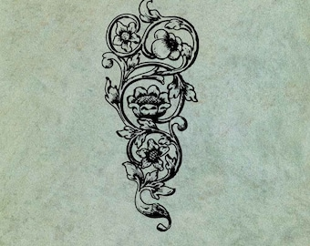Scrolling Decorative Element with Flowers and Leaves - Antique Style Clear Stamp