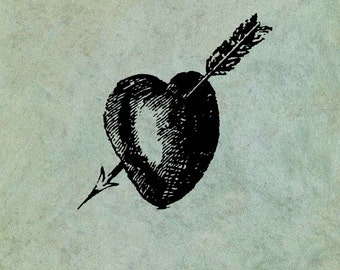 Heart Pierced by Arrow LARGE - Antique Style Clear Stamp