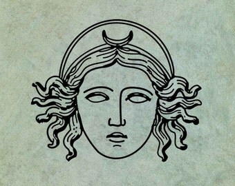 Selene Goddess of the Moon - Antique Style Clear Stamp