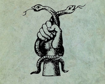 Hand Holding Two Hissing Snakes - Antique Style Clear Stamp