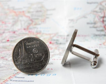 Thailand coin cufflinks - made of original coins from Thailand
