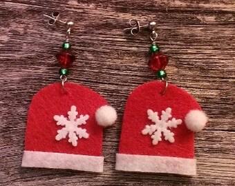 Felt Christmas Santa Hat Glass Bead Earrings