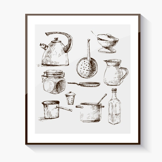 Items Similar To Vintage Kitchen Wall Art Instant Download