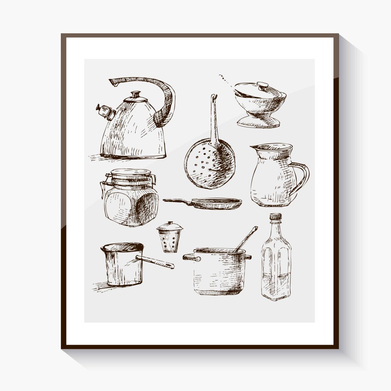 Vintage Kitchen Wall Art Instant Download Printable Art
