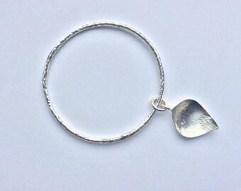 Hammered Sterling Silver Leaf Bangle