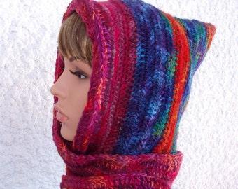 Handspun happy spirit boho hood, dream hood, boho hood, cowl, hooded scarf, pixie hat, hooded cowl scarf, rainbow hood, scarf,size L,24 inch