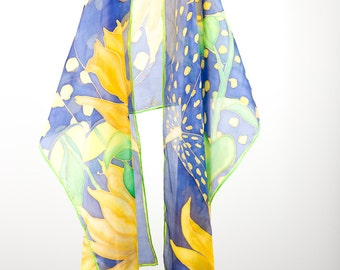 Sunflowers Scarf Hand painted Yellow Blue Scarves Polka dots Silk scarf Summer Floral scarf August flowers