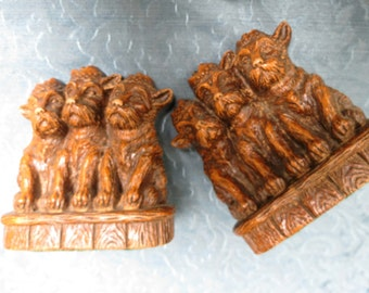 Wonderful Old Antique 1920's Scotty Dog  Orna Wood Bookends