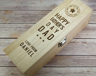Father's Day Wooden Wine Box - Father's Day Gift - Wine Box for Dad - Dad's Wine Box - Father's Day Wine Gift - Wooden Wine Box