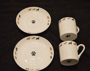 newfoundland dog set two espresso cups n saucers fine bone china