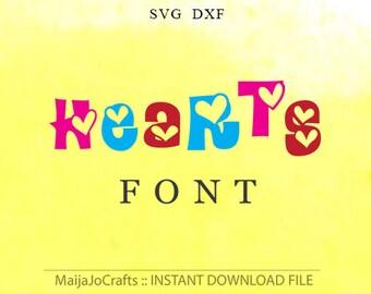 Hearts font SVG file DXF, Digital font Alphabet Silhouette Cameo Cricut Svg Cricut designs Cricut font downloads Monogram Font Svg fonts