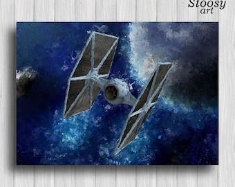 Tie Fighter print star wars fan gift imperial galaxy art