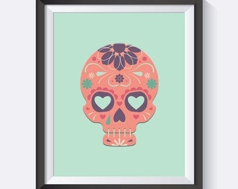 Sugar Skull Print, Sugar Skull, Pink Skull, Skull Art, Nursery Art, Office Art, Digital Print Wall Art