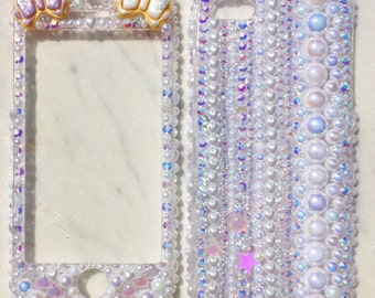 Mermaid Princess Case for IPhone 5S with pearl and rhinestones - Ready to ship! Only 1 piece in stock!