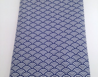 50x80 cm- Japanese fabric pattern Blue Waves seigaiha 100% cotton