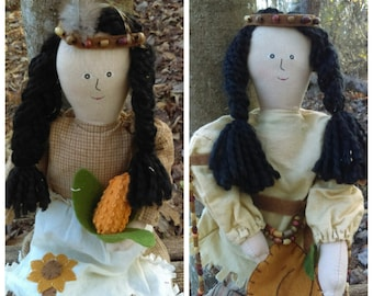 Rag Dolls/ 1980's Couple of Rag dolls/Autumn home decor/Native american/ thanksgiving-themed/Country home decor