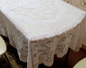 "Lace Tablecloth, vintage cotton tablecloth, retro rectangular tablecloth, Soviet kitchen table decor, white lace cloth 185 x 160 cm, 72x62"""