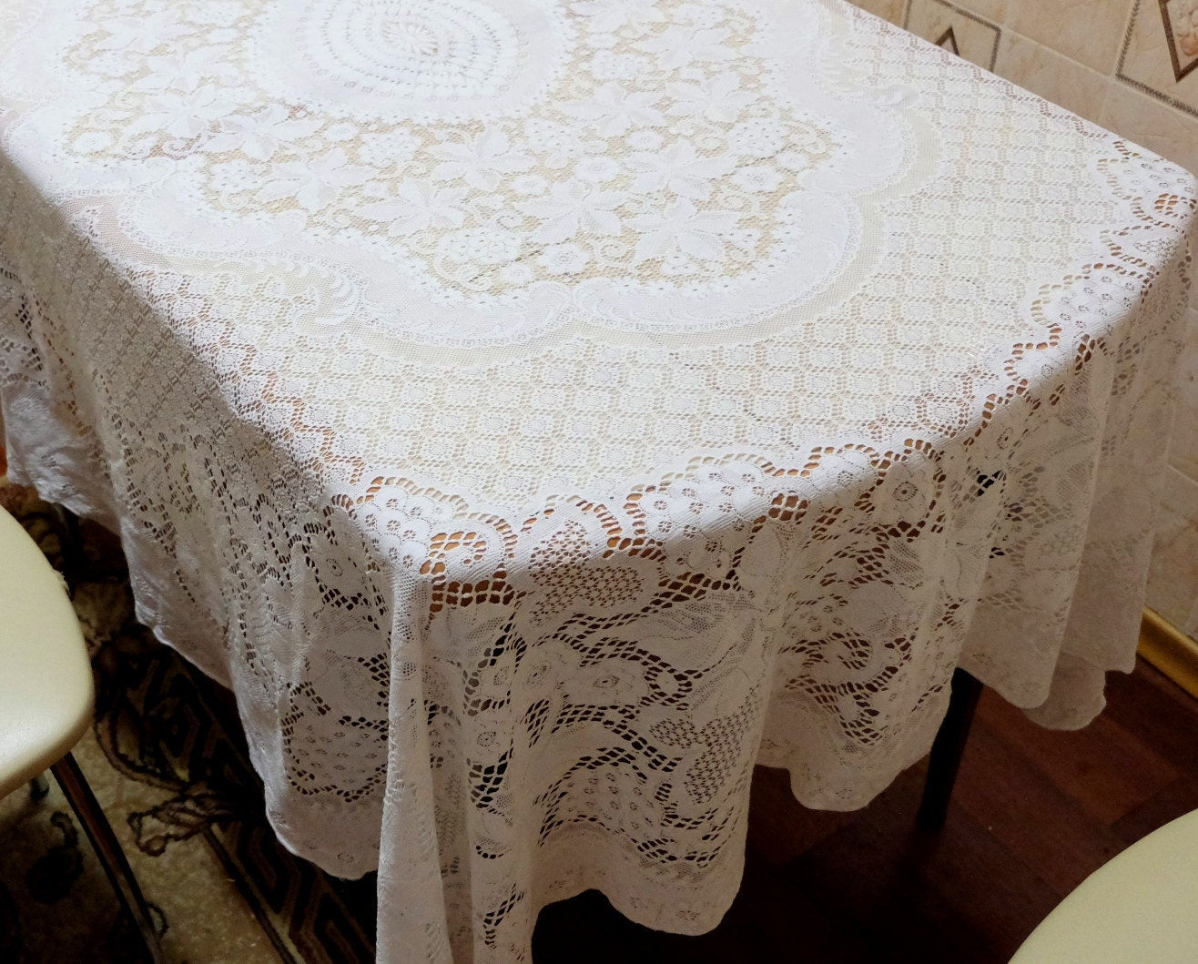 lace tablecloth vintage cotton tablecloth retro rectangular