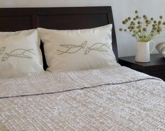 Silk quilt - Silver color - Reversible - 100% handmade silk quilt