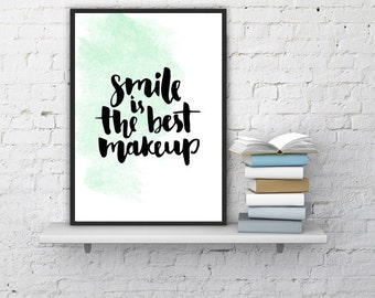 "PRINTABLE ART - WatercolorPoster ""Smile is the best make up"" 