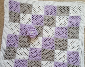 Gray White and Lavendar Granny Square Baby Blanket