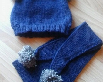 Boys handknit set, boys hats and scarf