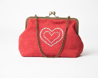 Cherry red day or evening Clutch bag