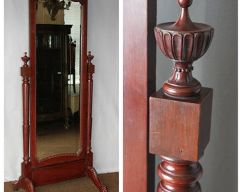 F3173 Antique Late Nineteenth Century Mahogany Free Standing Full Length Cheval Mirror with Claw Footed Base