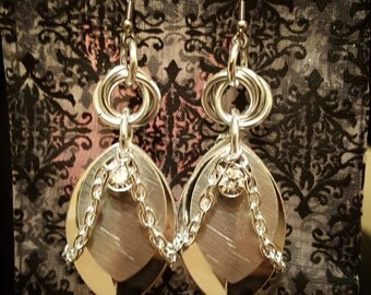 Slave Chain Mobius  Dangle Earrings w/ Swarovski Crystal accent