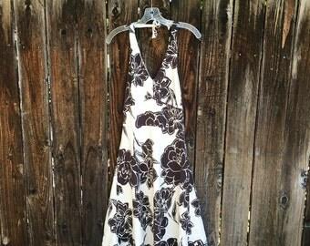 Vintage Ann Taylor Brown & Cteam Floral Halter Dress Size 6