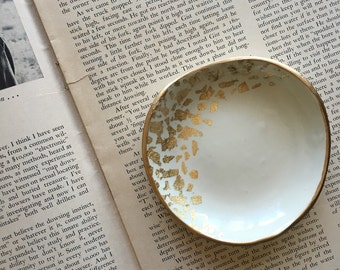 GOLD LEAF CRESCENT // Handmade Polymer Clay Jewelry Dish, Ring Dish, Trinket Dish