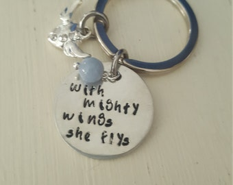 "Female empowerment keyring ,Personalized Keyring,""With Mighty Wings she Flys"", Gift for Her ,Hand stamped Keyring"