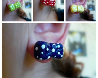 Polkadotted Bow Earrings