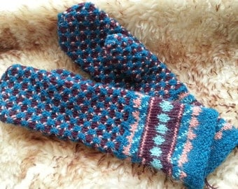 Vibrant hand-knitted wool mittens