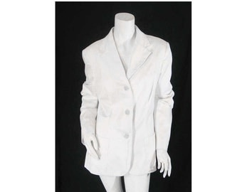 Philippe Adec Paris, Size: 12, Crisp White Cotton 3 Button Blazer Jacket, Front Pockets, Fully Lined, Totally Fabulous and Tres Chic