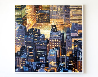 """Untitled (Manhattan Night), 40x40"""", Original painting, Oil on canvas, by Annabelle Nealon for Arthouse Brooklyn"""
