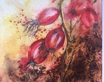 Watercolour abstract flowers. Rose hip