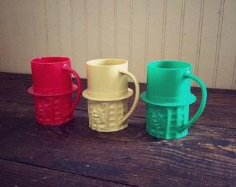 Vintage Mr. Peanut Plastic Cup Set of 3
