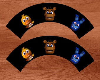 Five Nights at Freddy's Printable Cupcake Wrappers - Instant Download
