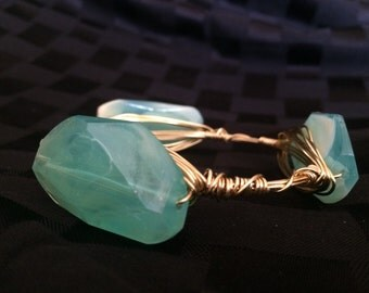 Turquoise Cheeky Wire-Wrapped Bracelet