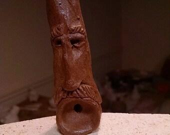 Handmade ceramic face pipe
