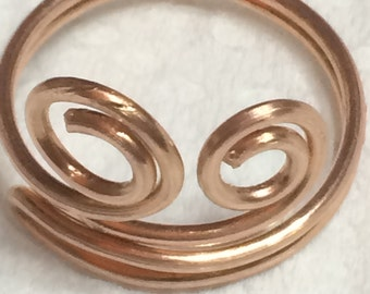 Wire wrapped adjustable Copper Ring, Choose Size, Swirl Ring, Handmade copper ring, copper jewelry, copper jewellery, Trendy Handmade ring